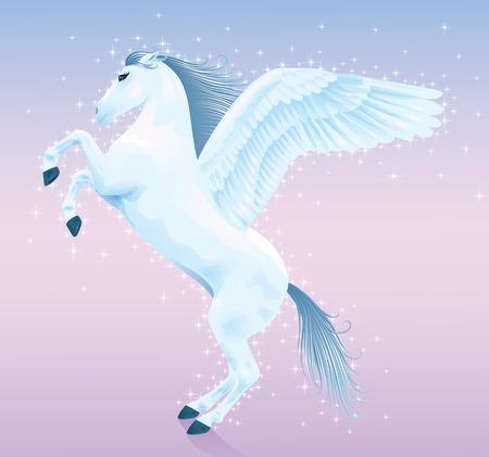 Beautiful magic pegasus rising up on his hind legs. Vector