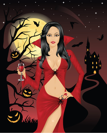 Sexy vampire holding a glass of blood.  Full moon, flying bats, scary pumpkins on a tree and silhouette of a castle on a mountain on the background. Vector