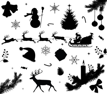 Collection of a christmas silhouettes.