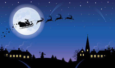 Silhouette of a woman santa on a sledge harnessed by magic deers flying over a village with gifts flying off. Full moon and stars on the background. Vector