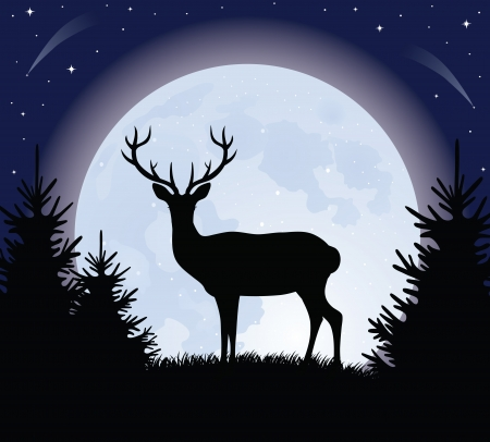Silhouette of a deer standing on a hill. Full moon on the background. Vector