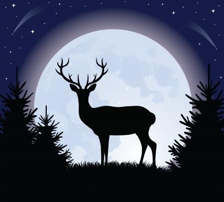 Silueta de un ciervo de pie sobre una colina. Luna llena en el fondo.