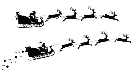 Silhouettes of a woman santa on a flying sledge harnessed by magic deers.