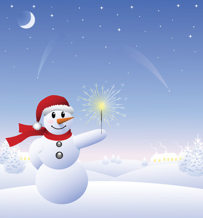 Snowman on a hill in the winter forest at night. Stock Vector - 6022293