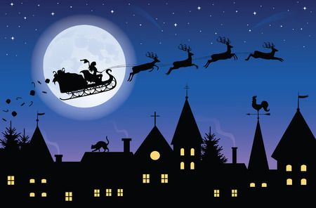 Silhouette of a woman santa on a sledge harnessed by magic deers flying over a town with gifts flying off. Full moon and stars on the background. Vector