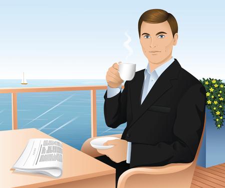 beau jeune homme: Beau jeune homme dans un costume sombre boire le thé et lire un journal dans une cafétéria en bord de mer.