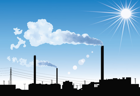 smoke stack: Silhouette of a factory with smoke coming out of chimneys on the blue sky background with the sun.