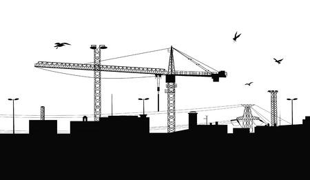 girders: Silhouette of a buildings being built with a crane on the construction plant.