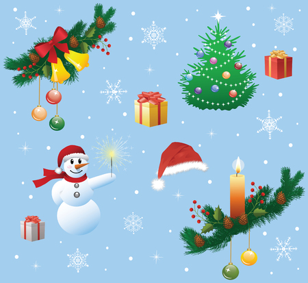 Collection of a christmas decorations. Vector