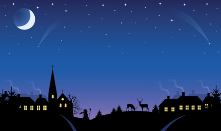 Silhouette of a small village at winter time at night. The Moon and stars in the sky. Vector