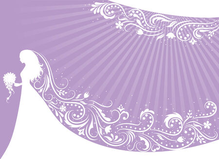 veil: Silhouette of a bride with a patterned veil on a purple background. Illustration