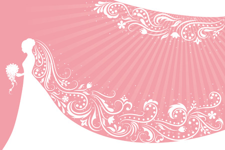 Silhouette of a bride with a patterned veil on a pink background.