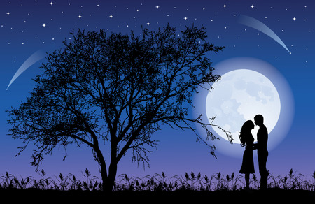 man in the moon: Silhouettes of man and woman hugging at night time with a Tree silhouette. Giant beautiful full moon in the sky.