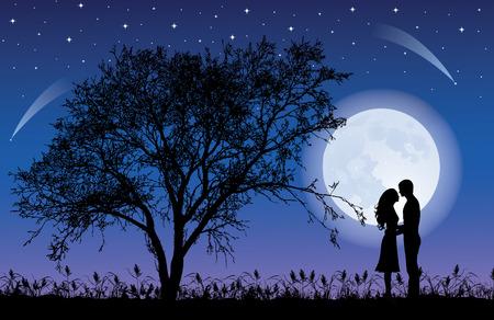 Siluetas de hombre y mujer, abrazos durante la noche con una silueta de árbol. Gigante luna llena hermoso en el cielo. Ilustración de vector