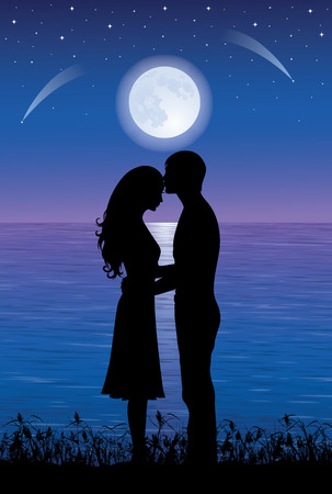 Silhouettess of man and woman hugging and kissing at night time.  On the background full moon and stars over the sea.