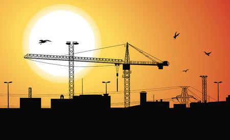 bouwkraan: Silhouet van een gebouwen worden gebouwd met een kraan op de bouw plant bij zons ondergang.  Stock Illustratie
