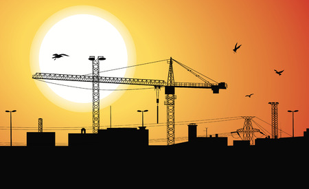girders: Silhouette of a buildings being built with a crane on the construction plant at sunset. Illustration