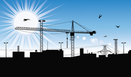 lowering: Silhouette of a buildings being built with a crane on the construction plant at day time. Illustration