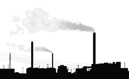 Silhouette of a factory with smoke coming out of chimneys. Ilustração