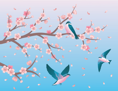 One swallow sitting on a branch of a cherry blossom and two swallows flying nearby. Vector