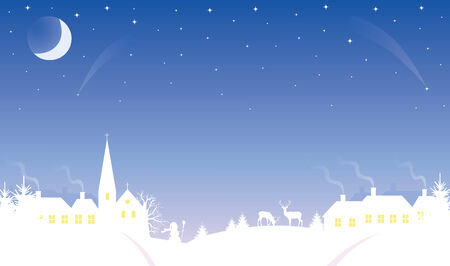 Silhouette of a small village at winter time. The Moon and stars in the sky. Vector