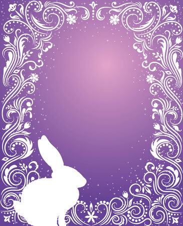 Pattern in a shape of an egg on the violet background with sparkles silhouettes of a rabbit. Vector