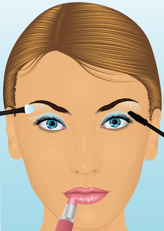 apply: Make- up being applyed to a womans face.