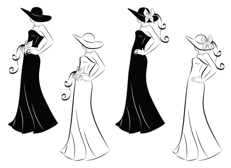 Black and white outline and silhouette of a woman in a long dress and a hat, looking away from the camera. Vector