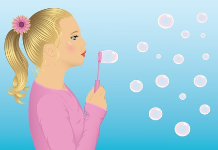 Young cute blonde girl blowing a bubbles. Vector