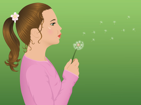 Young cute girl blowing a dandelion. Vector