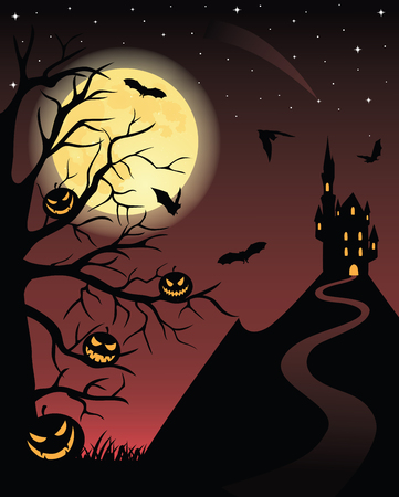 Full moon, flying bats, scary pumpkins on a tree and silhouette of a castle on a mountain. Vector
