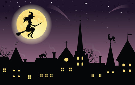 Silhouette of a witch on a broom flying over a town. Full moon and stars on the background. Vector