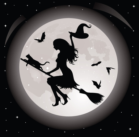 Silhouette of a witch and a cat flying on a broom. Full moon and bats on the background. Vector