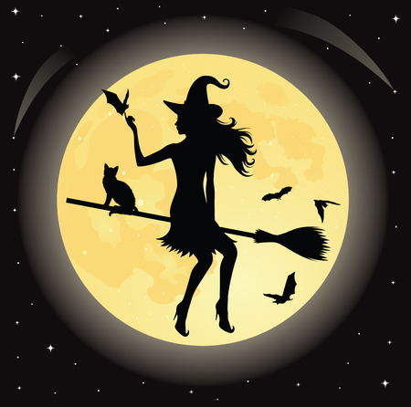 Silhouette of a witch and a cat flying on a broom. Full moon and bats on the background. Ilustração