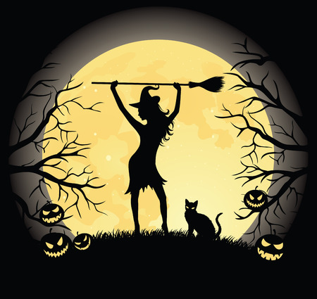 Silhouette of a witch with a broom and a cat standing on a hill. Full moon, trees and pumpkins on the background. Vector
