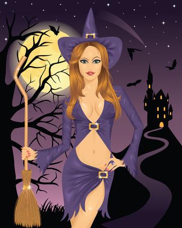Bruja sexy sosteniendo una escoba. Luna llena, volando de murciélagos y la silueta de un castillo en una montaña sobre el