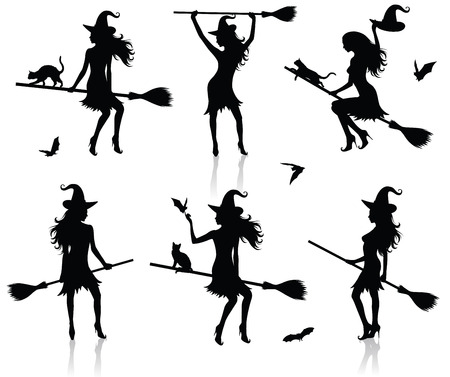 Collections of vector silhouettes of a witch with a broom.
