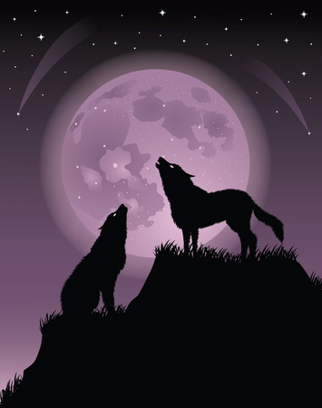 Two wolfs standing on a hill and howling at a full moon. Vector