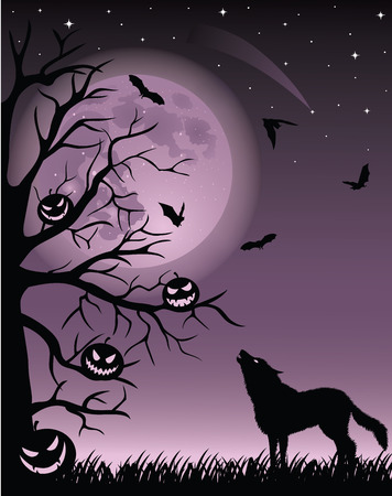 Full moon, flying bats and silhouette of a wolf and tree with pumpkins. Vector