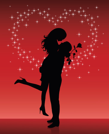 love kiss: Silhouette of a man lifting a woman up in his hands on a red background with sparkles in shape of a heart.