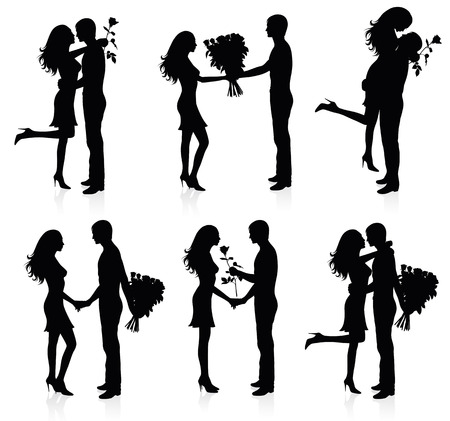 love kiss: Different silhouettes of couples with flowers.