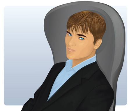 A young handsome relaxed man sitting in a chair.
