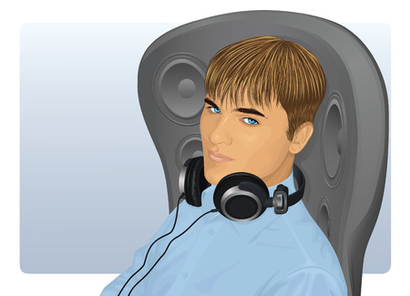 A young handsome relaxed man with earphones sitting in a modern chair with speakers. Vector