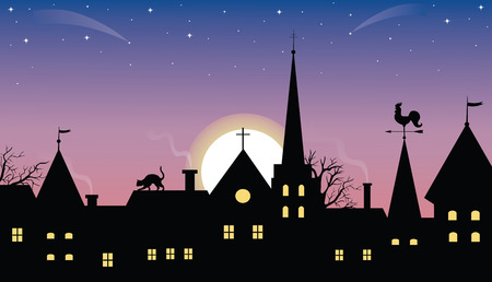 Sunset or sunrise over a medieval town. Stock Vector - 6104718
