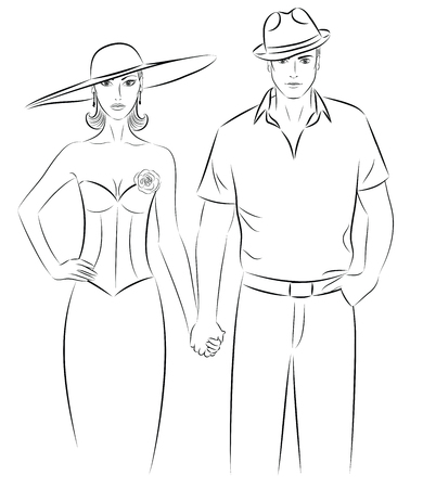 Outline of a woman and a man in a  a hat, holding hands. Vector