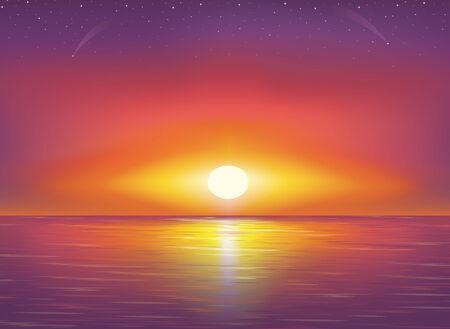 Hermosa puesta de sol y las estrellas en la playa.  Ilustración de vector