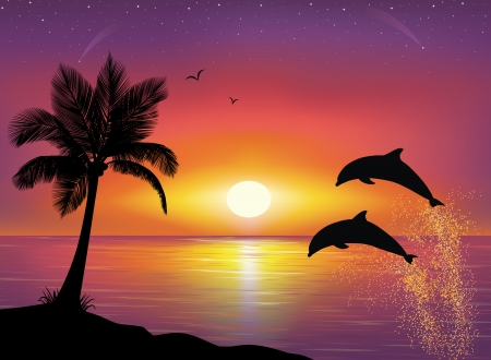 Silhouette of two dolphins jumping out of water in the ocean and silhouette of palm tree in the foreground. Beautiful Sunset and stars at the seaside in the background. Illustration