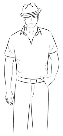 Outline of a man in a hat. Vector