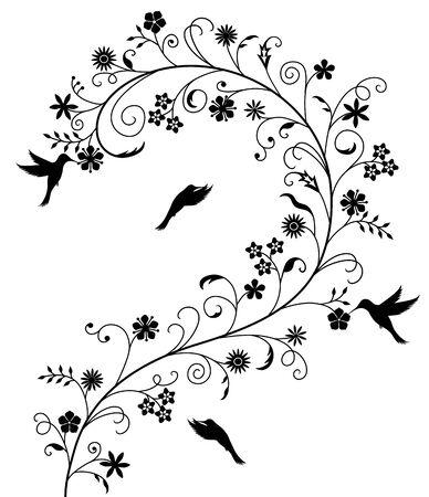 조류와 우아한 꽃 패턴입니다. 일러스트