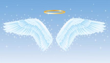 ali angelo: Ali di un Angelo con un nimbo sopra.
